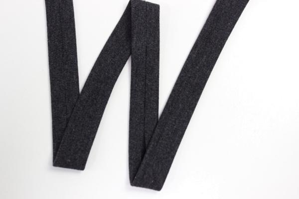 Jersey Schrägband vorgefalzt schwarz meliert Ökotex 100