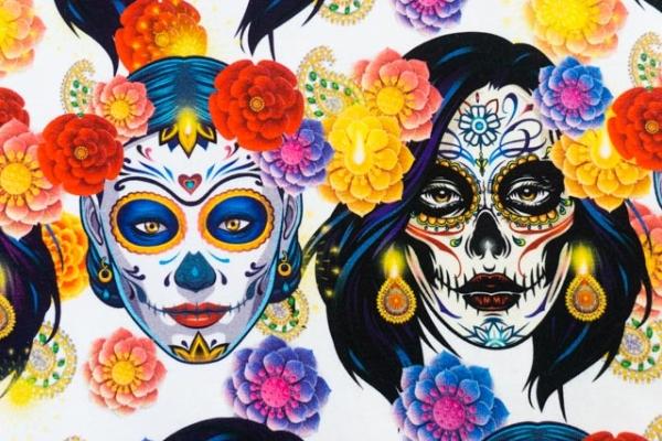 Bio-Baumwolljersey Mexican Frida weiß Ökotex 100