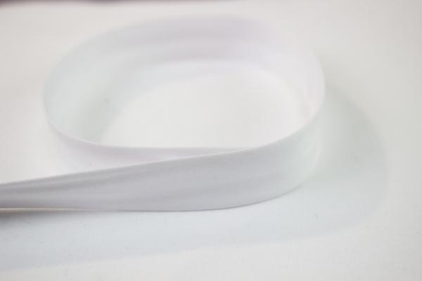 Elastisches Schrägband vorgefalzt weiß Ökotex 100