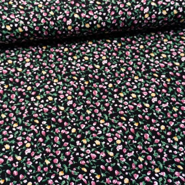 Viskosewebware Kleine Tulpen schwarz