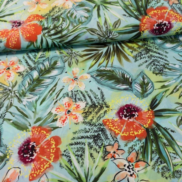 Viskosewebware Hawaii Flowers dusty mint