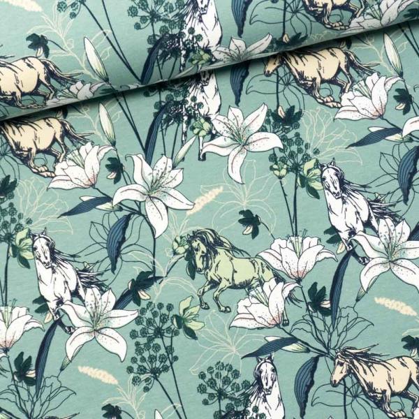 Sommersweat French Terry Pferde und Lilie dusty mint