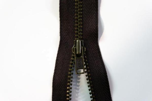 YKK nicht teilbarer Reißverschluss klein Metall braun Ökotex 100