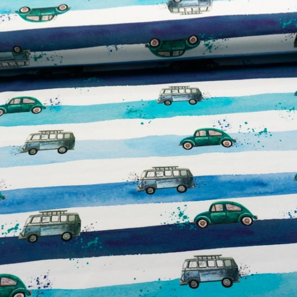 Bio-Baumwolljersey Vintage Road weiß-navy-mint-türkis
