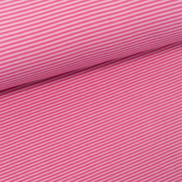 Baumwolljersey Ringel rosa-pink