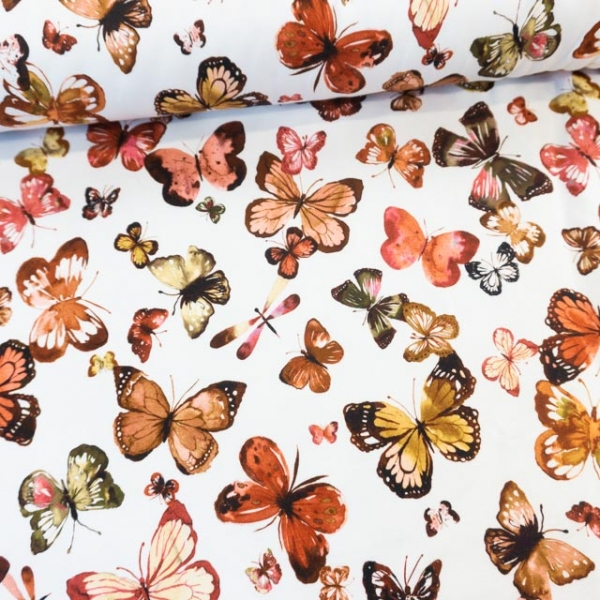 Bio-Sweat French Terry Butterflies weiß Ökotex 100