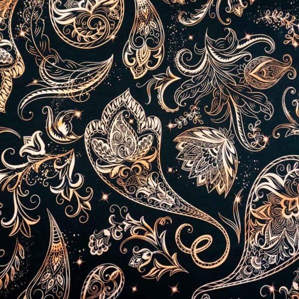 Bio-Baumwolljersey Metallic Paisley rosegold