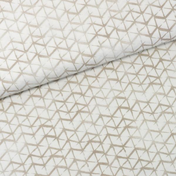 Baumwollwebware Italienische Kollektion Grafisch weiß-taupe Ökotex 100