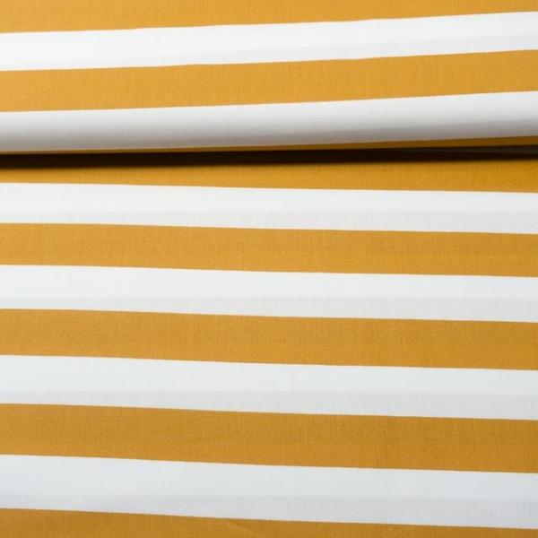 Baumwollwebware Blockstreifen weiß-senf