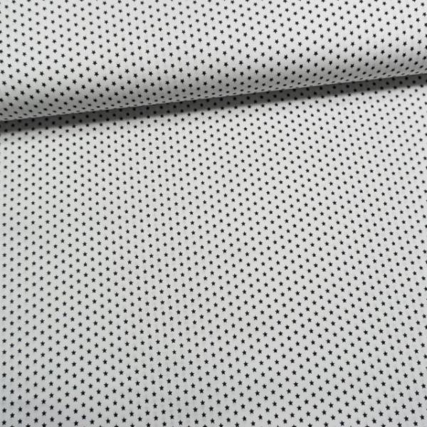 Baumwollwebware Mini Sterne weiß-schwarz