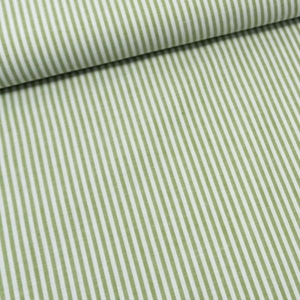 Baumwoll Popeline Streifen MELIERT lindgrün
