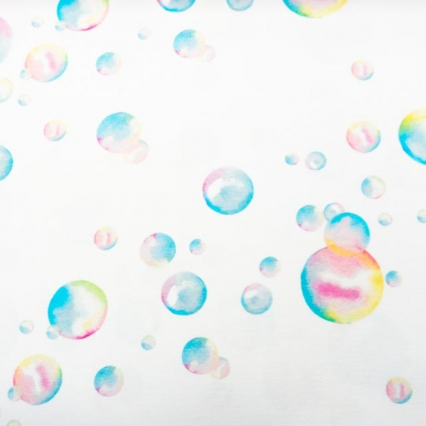 Bio-Baumwolljersey Bubbly World weiß
