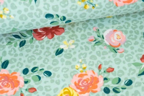 Baumwolljersey Small Leo Print and Flowers dusty mint Ökotex 100