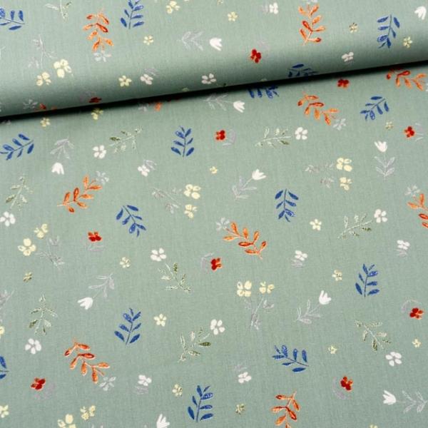 Bio Baumwollwebware kleine Blätterzweige dusty mint