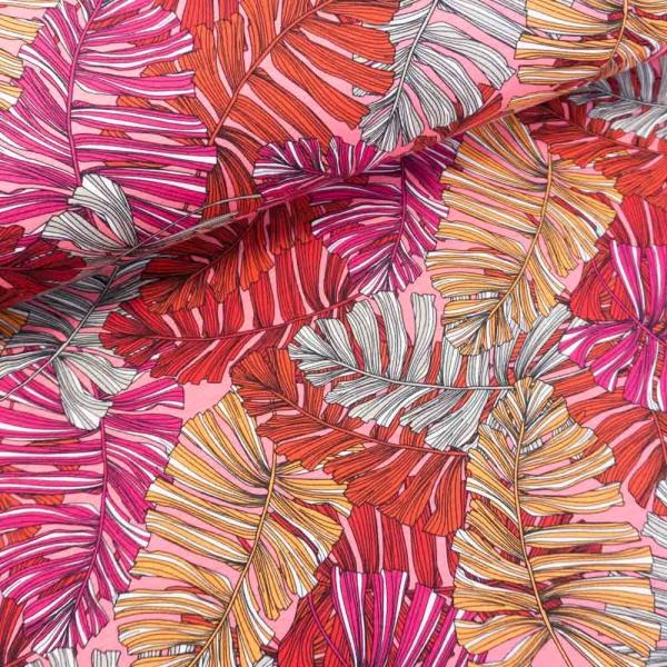 Viskosejersey Palmleaves rose-pink