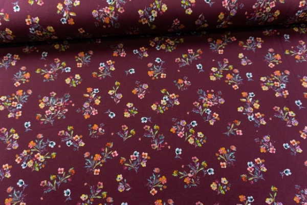 Baumwolljersey DIGITAL kleine Streublumen bordeaux Öko Tex 100