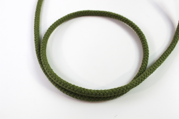 6mm Kordel geflochten khaki Baumwolle