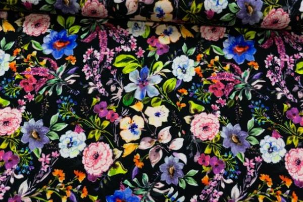 Viskosejersey DIGITAL Flower Field schwarz Ökotex 100