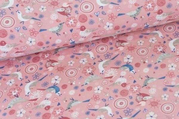 Baumwolljersey DIGITAL Birdy Love rosa Ökotex 100