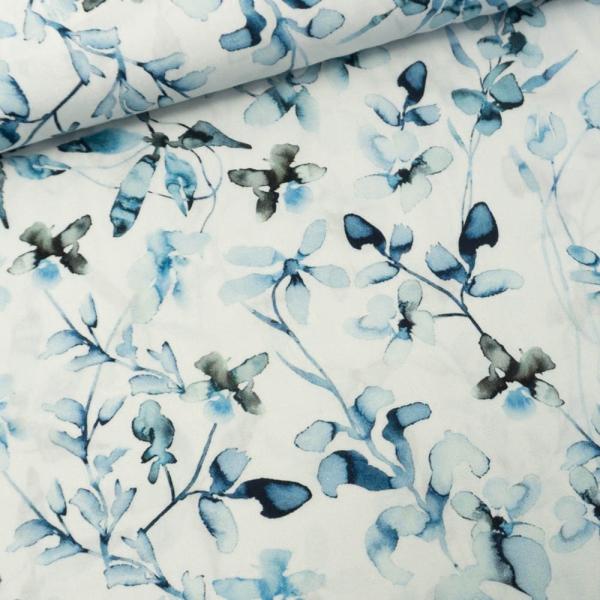 Viskosewebware Watercolor Twigs hellblau
