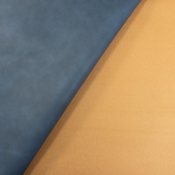 Festes Kunstleder Doubleface melange jeansblau-camel