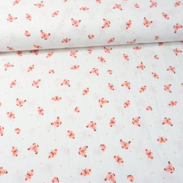 Baumwollwebware Baby Cotton Butterflies weiß