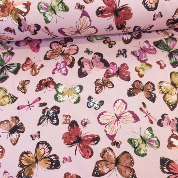 Bio-Sweat French Terry Butterflies altrosa Ökotex 100