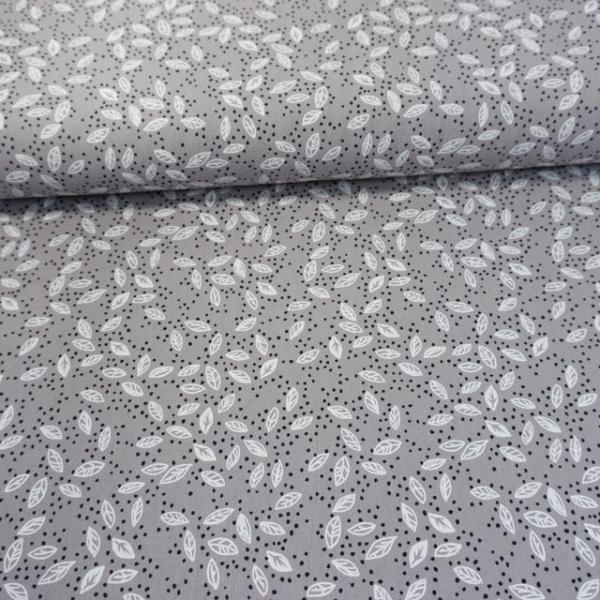 Baumwollwebware Baby Cotton Forest Leaves grau