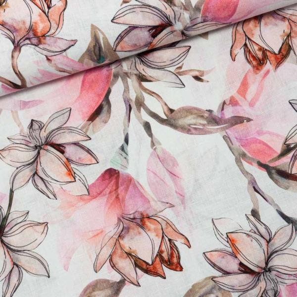 Premium Leinen Digital Springflowers altrosa