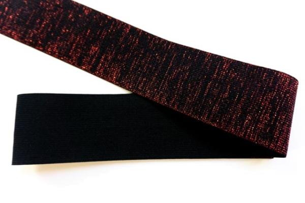 Gummiband Glam schwarz-rot 60mm Ökotex 100