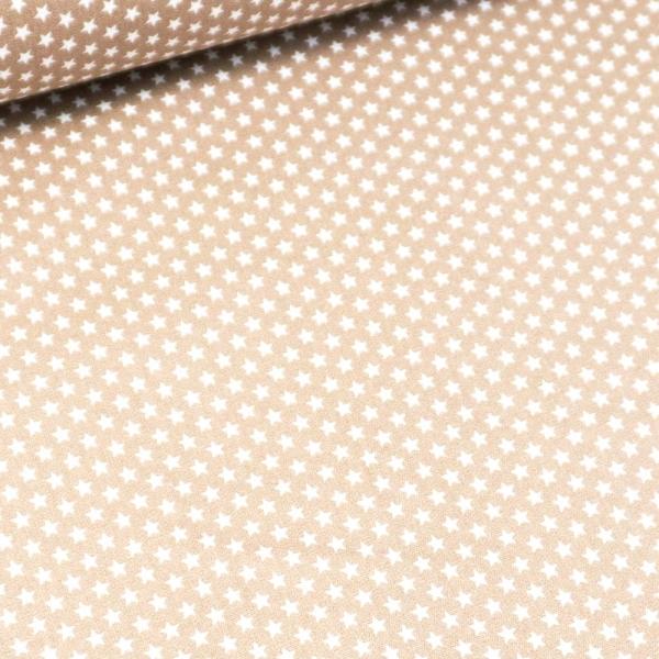 Baumwollwebware Mini Sterne hellbeige