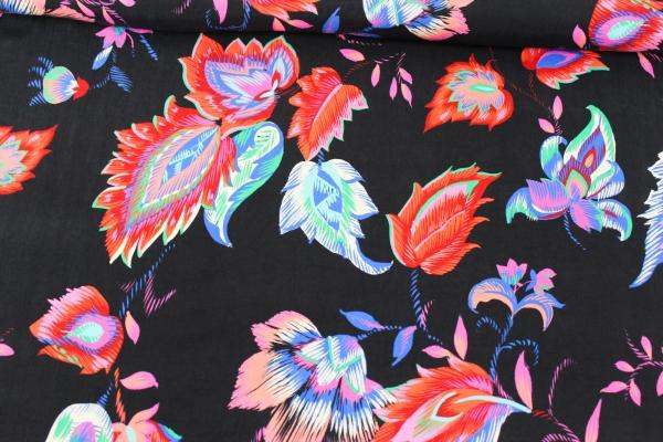 Viskose Seidenweich leuchtende Blumen schwarz Ökotex 100