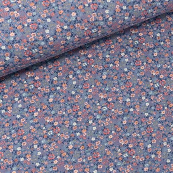 Baumwolljersey Streublumen mini jeansblau