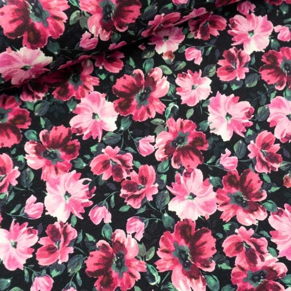 Sommersweat French Terry Blütenpracht schwarz