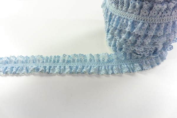 Elastische Rüschen-Spitzenborte hellblau Ökotex 100