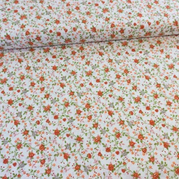 Baumwollwebware Italienische Kollektion Blütenranken rot Ökotex 100