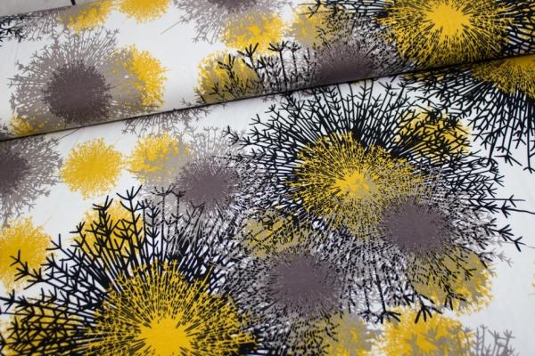 Viskosejersey Kristall ecru-senf-grau Ökotex 100