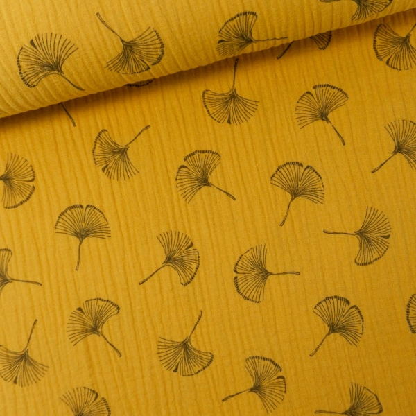 Musselin Double Gauze Ginkgo Blätter senfgelb