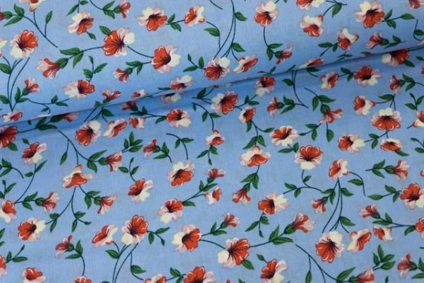 Baumwollwebware Bi-Color Flower hellblau Ökotex 100