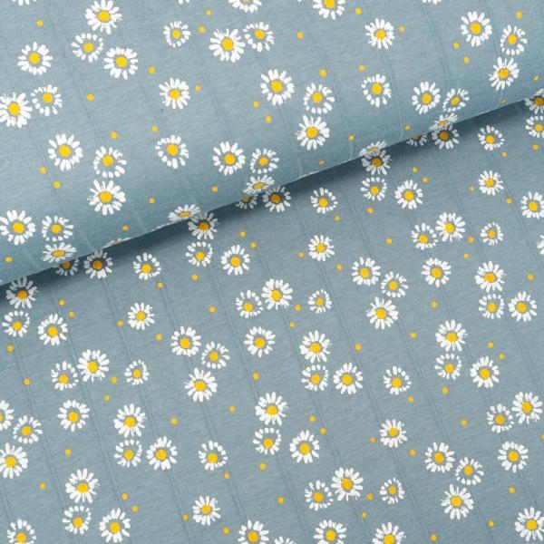 Musselin Jersey Double Gänseblümchen jeansblau
