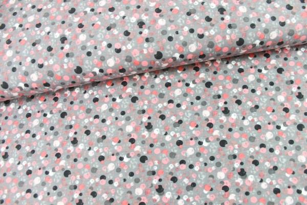Baumwolljersey Punkte grau rose weiß Öko Tex 100