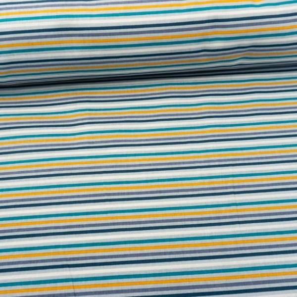 Baumwollwebware Stripes weiß-hellblau-petrol-senf