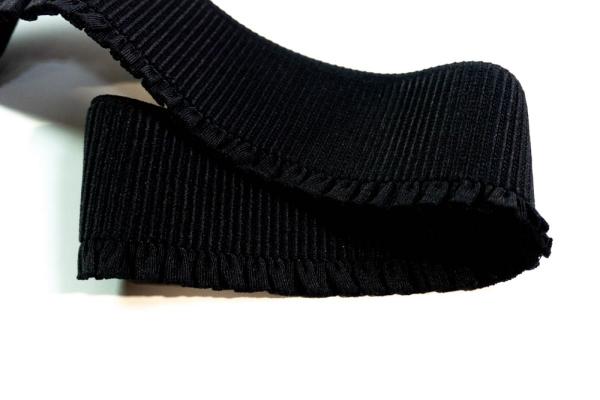 Gummiband Heavy + Soft mit Rüsche schwarz 60mm Ökotex 100