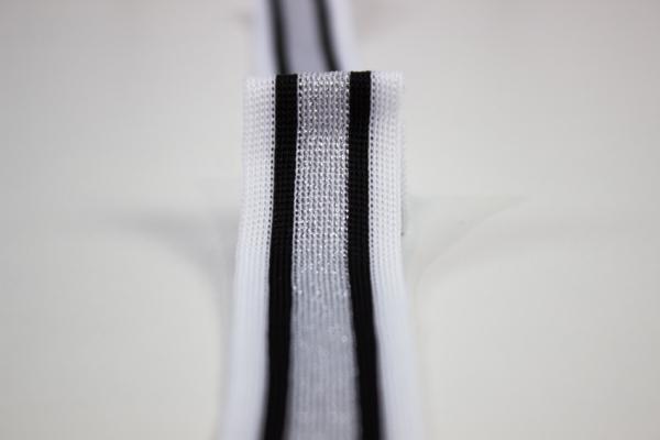 Galonband Glam weiß-schwarz-silber Ökotex 100