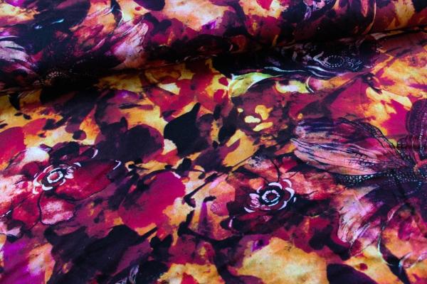 Viskosejersey Burning Flowers rot-orange Ökotex 100