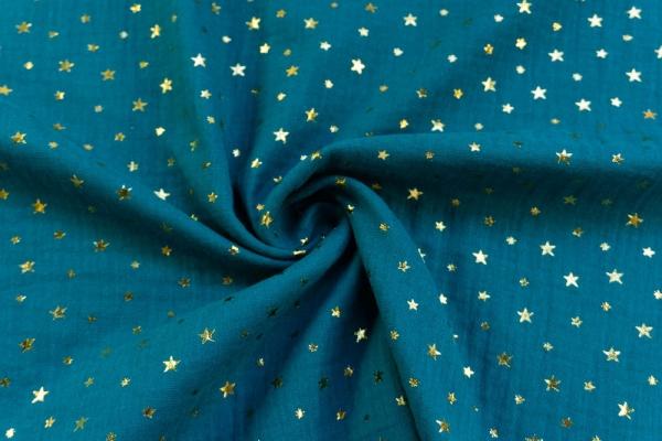 Musselin Double Gauze GOLD Sterne petrol 100% Baumwolle Ökotex 100