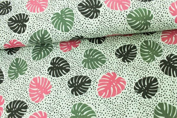 Musselin Leaves mint Ökotex 100 100% Cotton