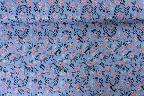 Baumwollwebware Gezeichnete Blumen jeansblau Ökotex 100