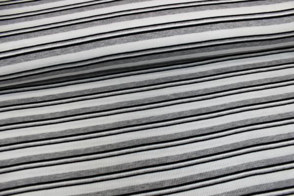 Feinripp Strick gestreift weiß-hellgraumeliert-schwarz Ökotex 100