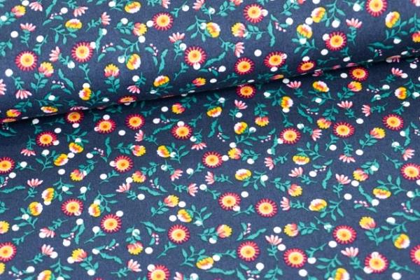 Baumwollwebware Feuerblume navy Ökotex 100